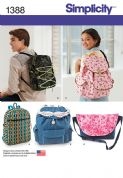 1388 Simplicity Pattern: Backpacks and Messenger Bag